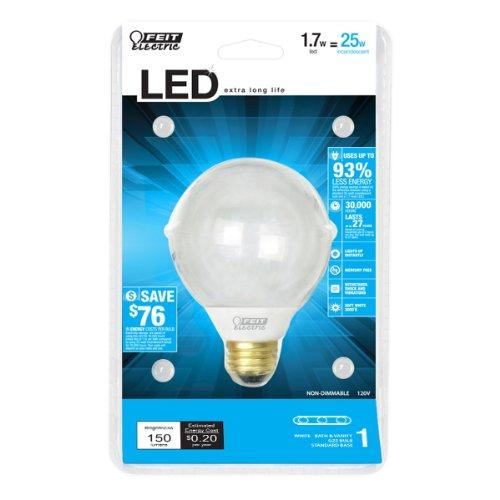 Feit Electric Bpg25/Led/Rp Accent Led G25 Globe Bulb, Soft White