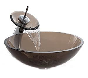 Kraus C-GV-103-12mm-10CH Clear Brown Glass Vessel Sink and Waterfall Faucet Chrome