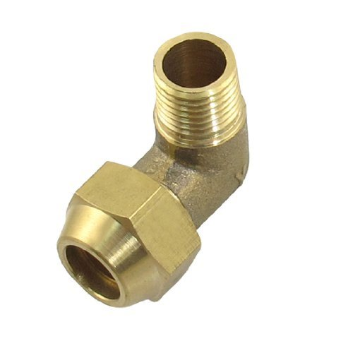 "Water & Wood 1/4"" Male Thread Brass Piping Adapter Connector Gold Tone"
