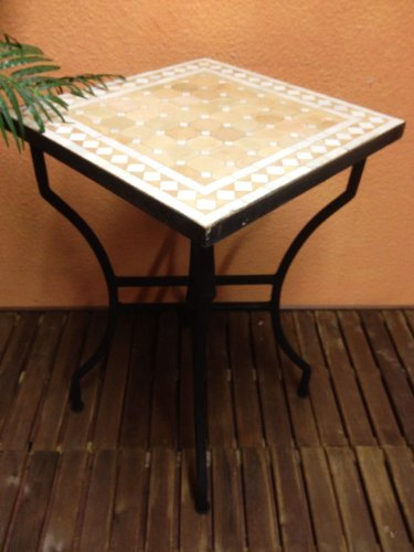 Mosaiktisch Beistelltisch Marrakesch Natur/ Weiss, 50x50cm NEU