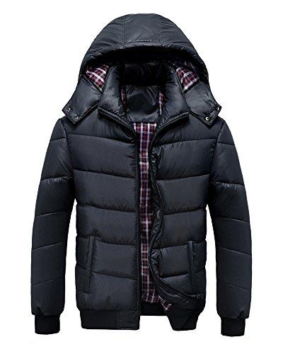 LaoZan Uomo Cappotto invernale Giacca con Cappuccio Parka Manica Lunga con Cerniera XL Nero
