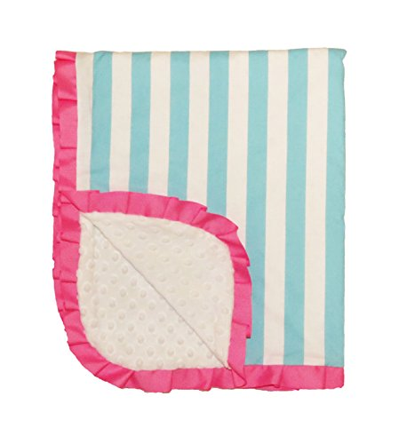 Caught Ya Lookin' Reversible Baby Blanket, Girl's Blue and White