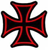 Maltese Cross Iron On Patch Embroidered Red Gothic Motorcycle Biker Vest Emblem