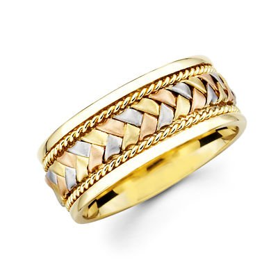 14K Yellow & White Gold Braided Wedding Ring