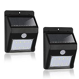 eTopLighting 2 Packs of LED Solar Power Outdoor Wall Light Black with PIR Motion Sensor, Night Sensor, Water Proof, Heat Proof, Solar Panel, High Light, Dim Light, AGG2001