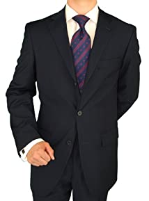 Giorgio Napoli Men's Three Button Jacket Pleated Pants Navy Suit