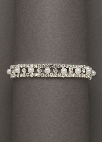 David's Bridal Pearl and crystal alternating stretch bracelet. Style ZSH-079, Pearl/White