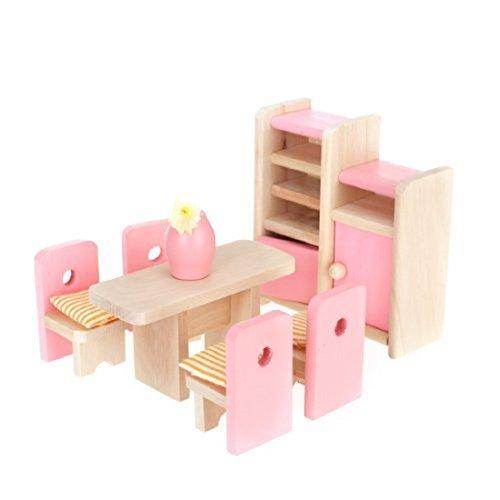 aisstertm-wooden-furniture-dollhouse-miniature-pink-dining-room-set-children-toy