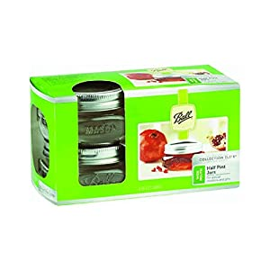 Ball 1440061162 Collection Elite Brushed Silver Design Wide Mouth Jars 8 Oz with Lid and Bands, 16-Count