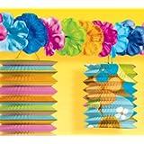 Hawaiian Style Tiki Garland W/ Flowers Hawaiian Party Decorations for Birthday/Celebration Accessories & Cups etc...