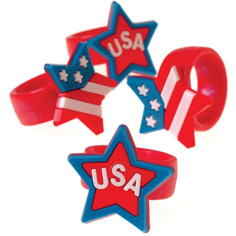Lot Of 12 Assorted Patriotic Stretchy Rubber Rings