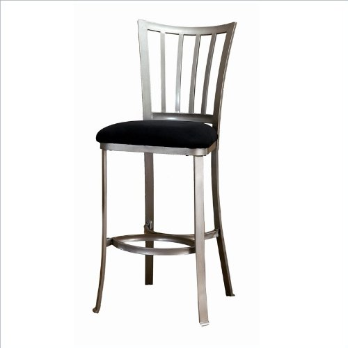 Hillsdale Delray 30-Inch Non-Swivel Barstool, Pewter Finish with Black Faux-Suede Upholstrey