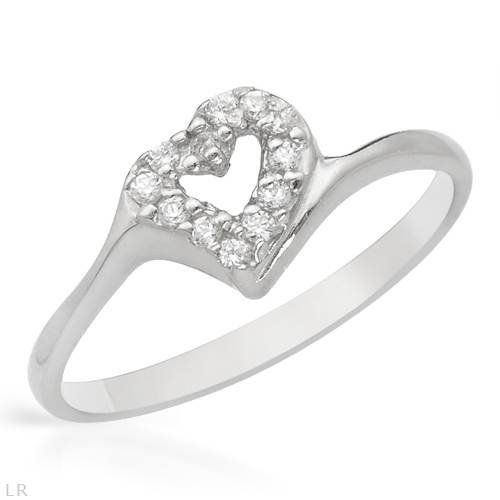 Sterling Silver 0.05 CTW Cubic Zirconia Heart Ladies Ring. Ring Size 6.5. Total Item weight 1.5 g.