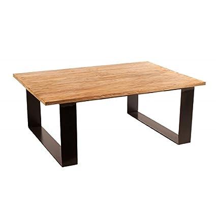 Mesa de centro de madera con patas en forja color natural envejecido