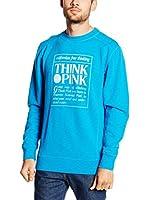 """THINK PINK Sudadera Felpa Basic Uomo""""Think Pink""""Cotone Slub Con Grande Stampa Centrale Sfumata (Cielo)"""