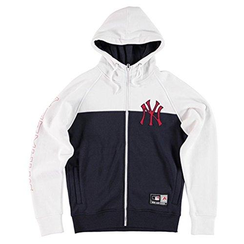 Felpa Con Cappuccio Majestic - Mlb Croco Cut & Sew Full New York Yankees bianco/nero formato: XL (X-Large)
