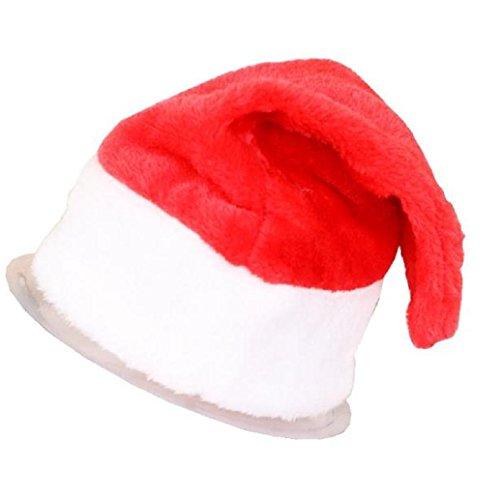 AMA(TM) Child Kids Red and White Christmas Santa Hats Xmas Cap Gifts (B) (White Felt Beard)