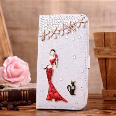 Candymaker Samsung Galaxy S5 I9600 Case Luxury 3d Bling Crystal Rhinestone Wallet Leather Purse Flip Card Pouch Stand Cover Case + Bonus Candymaker Stylus (Pink Girl and Black Cat)