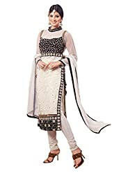 Surat Tex Off White & Black Color Party Wear Embroidered Soft Net Semi-Stitched Salwar Suit-I16DL2057