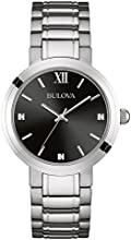 Bulova Diamond Men's Quartz Watch with Black Dial Analogue Display and Silver Stainless Steel Bracelet 96D124