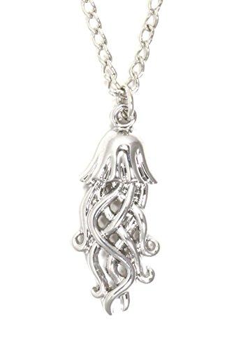 Jellyfish Necklace Silver Tone Ocean Cnidaria Pendant Sea Creature Nq38 Fashion Jewelry