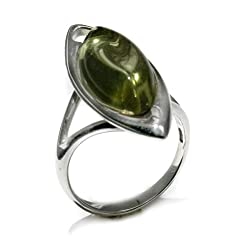 Sterling Silver Caribbean Amber Marquise-Shaped Ring