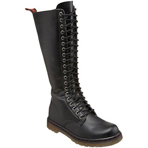 DEMONIA DISORDER-400 Men Gothic Punk 20 Eyelet Lace Up Knee High Combat Boot