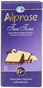 Alprose Two Tone Double Milk and White Chocolate 3.5 Oz / 100 G (Pack of 5)