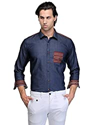 Edjoe Men's Blue With Printed Pocket Slim Fit Casual/Party Wear Shirt, BLEDMS0079