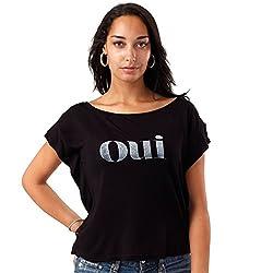 Desinvolt OUI Silver Printed Women's Black Top