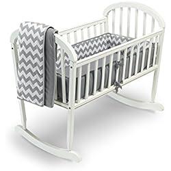 Baby Doll Chevron Cradle Bedding Set, Grey