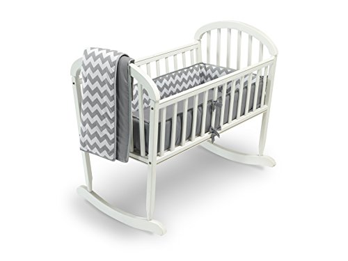 Baby Doll Chevron Cradle Bedding Set, Grey