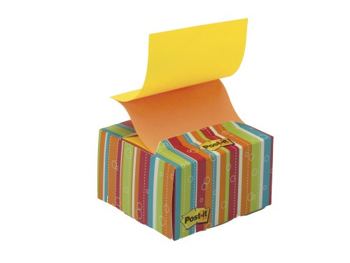 Post-It Pop-Up Notes With Striped Desk Grip Dispenser, 3 X 3-Inches, Alternating Neon Colors, 200-Sheets/Dispenser