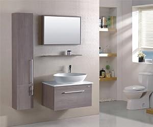 Ensemble salle de bain Gaia - M-70110B/243 - miroir - étagère suspendue - vasque - meuble sous vasque