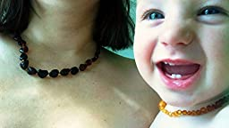 AMBER RX- 100% Pure Baltic Amber Pre-Natal and Raw Teething Necklace Set for Mother and Child in Rainbow-RARE!