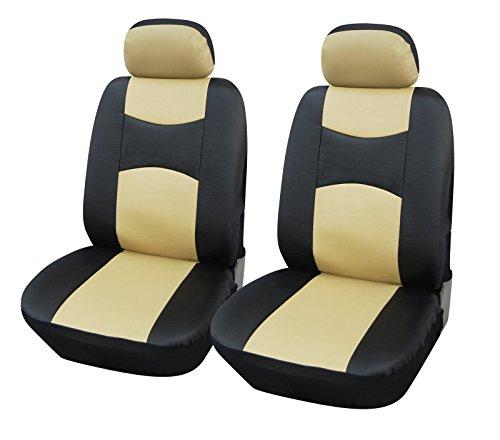 Vinyl 2 Front Car Seat Covers Volkswagen 859 Black/Tan front-438952