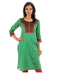 Verdant Green With Black Silk Cotton Kurta From ESTYLe