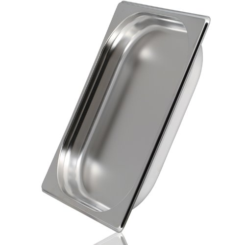 Greyfish GN-Behälter :: ungelocht :: für Gaggenau / Miele / Siemens Dampfgarer (Edelstahl / Spülmaschine geeignet, Gastronorm 2/3, B 32,5 x L 35,4 x H 4,0 cm)