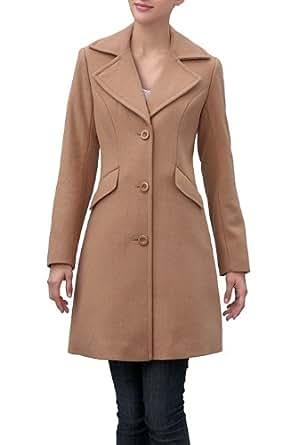 BGSD Women's Wool Blend Three Button Walking Coat - Camel 14