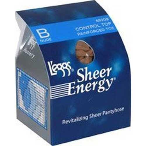 Leggs Sheer Energy Nude Size B Control Top Reinforced Toe Pantyhose -- 3 per case.
