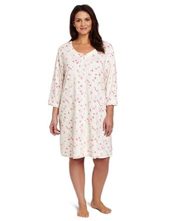 Karen Neuburger Women's Plus-Size Glass Slipper 3/4 Sleeve Henley Nightshirt, Floral Pink, 1X