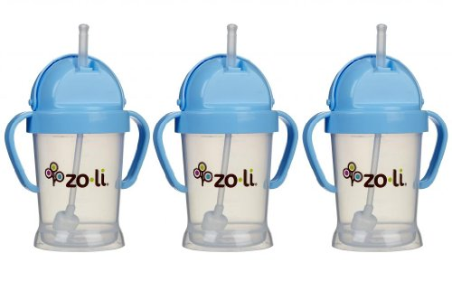 Zoli Baby BOT Straw Sippy Cup 6 oz - 3 Pack, Blue/Blue/Blue