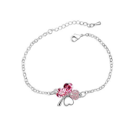 Swarovski Elements Pink Crystal Four Leaf Clover Love Heart Silver Plated Bracelet