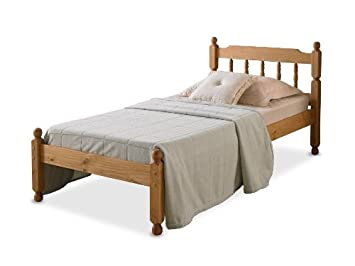 4'6 COLONIAL SPINDLE BED IN WAXED PINE WITH MEMORY FOAM 5000 MATTRESS