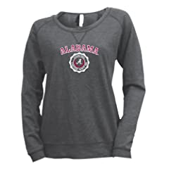 NCAA Alabama Crimson Tide Ladies Baby French Terry Striped Crew Sweatshirt Graphite by Ouray Sportswear
