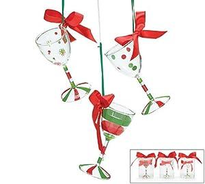 Amazon.com: Hand Blown Wine Glass Christmas Tree Ornaments ...
