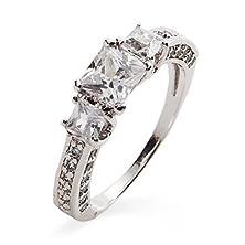 buy Petite Princess Cut Cz Past, Present And Future Ring