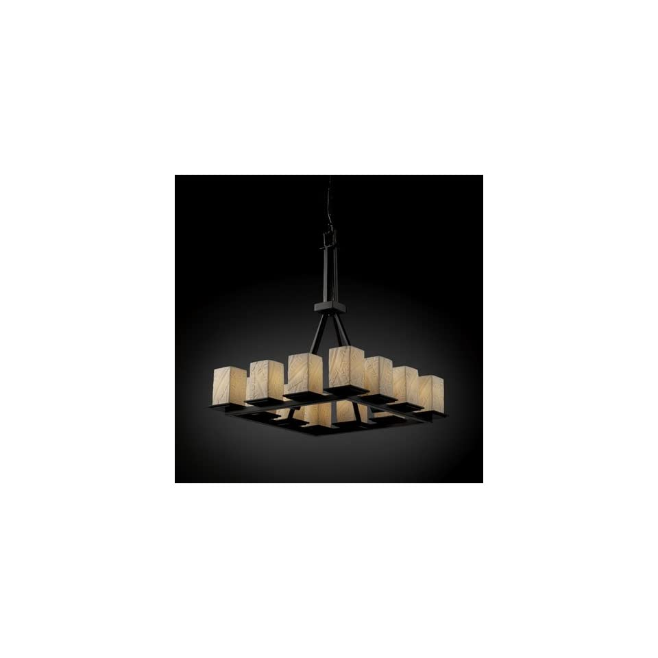 Justice Design Group POR 8663 15 BANL MBLK Limoges 12 Light Chandeliers in Matte Black