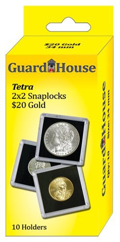 Guardhouse-2x2 20 Dollar Gold Tetra Snaplock,Coin Holders-10 ea.