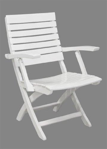 Gartenstuhl Nizza - Moderner Niedriglehner aus Holz - weiß lackiert - Qualität aus Deutschland
